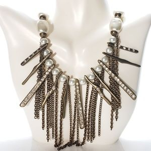 Chico's Waterfall Pearl & Brass Statement Necklace